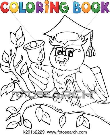 Clip Art - ausmalbilder, eule, lehrer, thema, 1 k29152229 - Suche ...