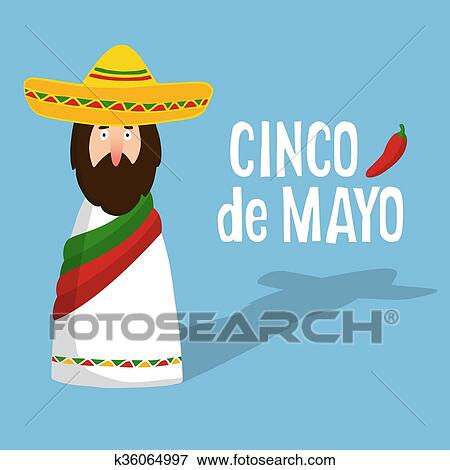 Clip art of cinco de mayo greeting card with mexican man with cinco de mayo greeting card with mexican man with sombrero hand drawn text and chilli pepper flat design vector illustration background m4hsunfo