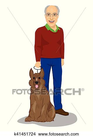 Clipart felice uomo senior standing con re pastore cane