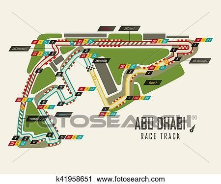 Clipart Of Formula One Racing Track In Abu Dhabi Top View K41958651