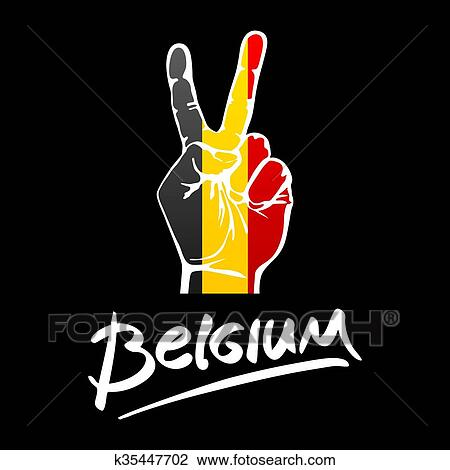 Clipart Of Hand Making The V Sign Belgium Flag Painted As Symbol Of