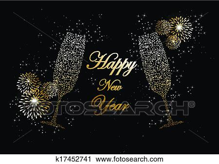 Clipart of happy new year 2014 champagne fireworks greeting card clipart happy new year 2014 champagne fireworks greeting card fotosearch search clip art m4hsunfo