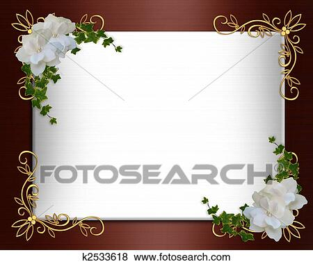 Stock illustration of invitation border elegant burgundy satin image and illustration composition for background border burgundy satin formal wedding invitation or template with gold accents white gardenias stopboris Choice Image