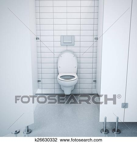 Clip Art Of Public Toilet Cubicle 3d Rendering K26630332