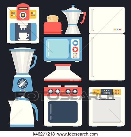 Kitchen Appliances Household Home Appliances Set Modern Flat Icons Set Trendy Graphic Elements Objects Creative Design Concepts Vector