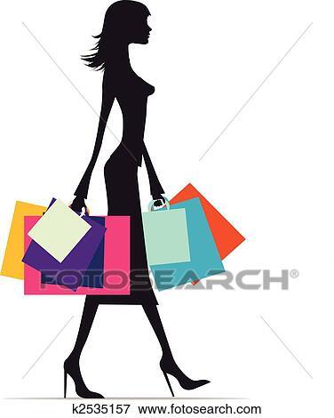 4e460e78cdf7 Shopping donna, silhouette Clip Art | k2535157 | Fotosearch