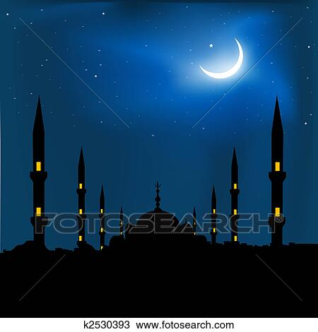 Silhouette De A Mosquee A Croissant Forme Lune Dessin