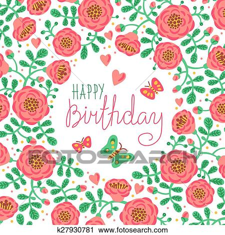 Clipart Of Vintage Card Happy Birthday With Cute Flowers And