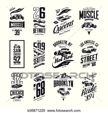 a68d5f499 Clipart - Vintage muscle, roadster, hot rod and classic car vector t-shirt