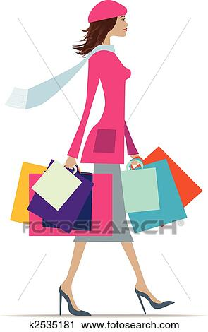 clipart of woman shopping k2535181 search clip art illustration rh fotosearch com  woman grocery shopping clipart