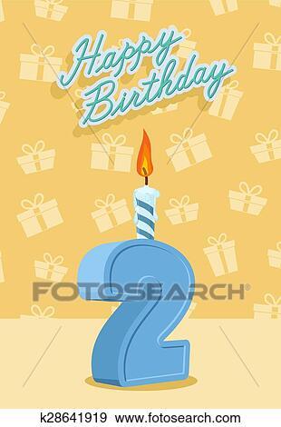 شمعة العيد ميلاد رقم 2 ب إضطرام Clip Art K28641919 Fotosearch