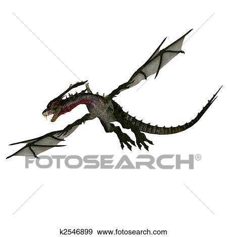 巨人 Terrifying ドラゴン で 翼 そして 角 攻撃 イラスト