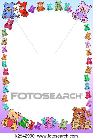 Border out of teddy bears Clipart | k2542990 | Fotosearch