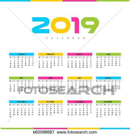 Calendario Clipart.Calendario 2019 Clip Art
