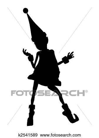 Stock Illustration Of Christmas Elf Silhouette Illustration K2541589