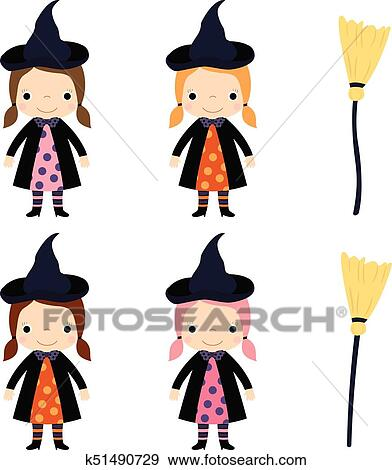 Cute Vector Little Girl In Witch Costume With Broom For Halloween Designs Clip Art K51490729 Fotosearch
