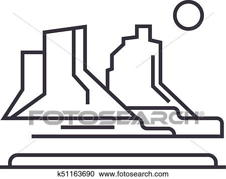 clipart of grand canyon vector line icon sign illustration on rh fotosearch com