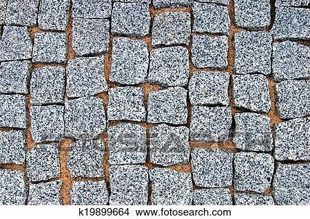 Granite Cobblestone Pavement Texture Background, Large Detailed Horizontal  Stone Block Paving, Rough Cut Textured Grey Pattern Closeup Picture