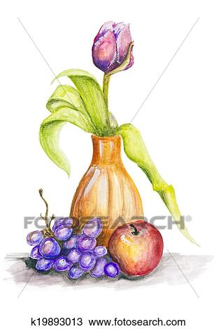 Dessin tulipe et fruits nature morte k19893013 recherchez des cliparts des illustrations - Dessin de nature morte ...