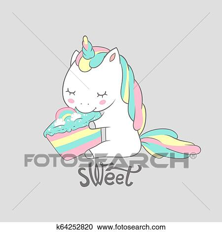Magic Unicorn Eat Sweet Birthday Cake Poster Print  Cute Greeting Card  Template with Adorable Happy Fancy Horse  Can be used for t-shirt print,  kids