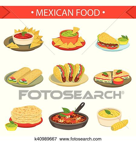 clip art of mexican food signature dishes illustration set k40989667 rh fotosearch com mexican street food clipart Mexican Food Restaurant Clip Art