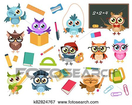 School owls. Color cute birds studying in school and ...