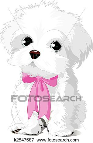 clip art of white puppy k2547687 search clipart illustration rh fotosearch com White Dog Clip Art White Dog Clip Art