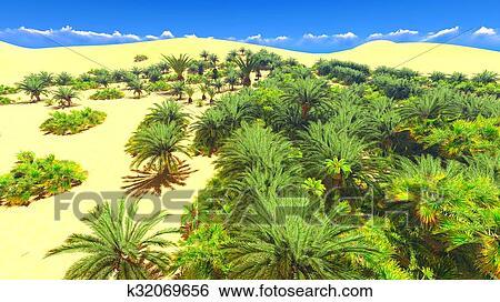 African Oasis On Sahara Stock Illustration K32069656 Fotosearch