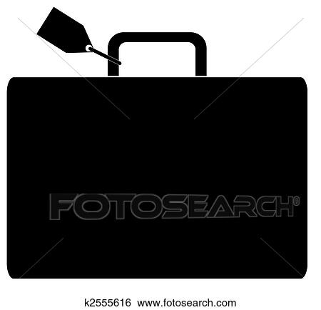 Black silhouette of luggage marked with name tag - vector Stock Illustration