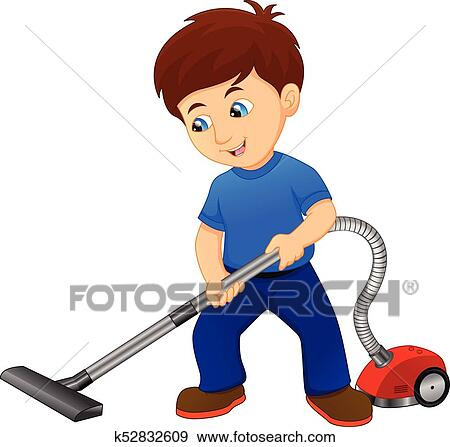 Boy Cleaning The Floor With Vacuum Cleaner Clip Art K52832609 Fotosearch