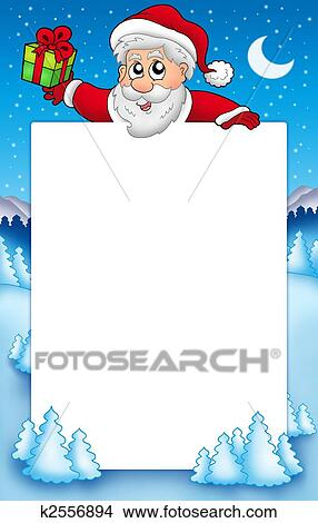 Drawings of Christmas frame with Santa Claus 5 k2556894 - Search ...