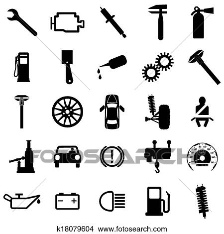Clipart Of Collection Flat Icons Car Symbols Vector Illustration