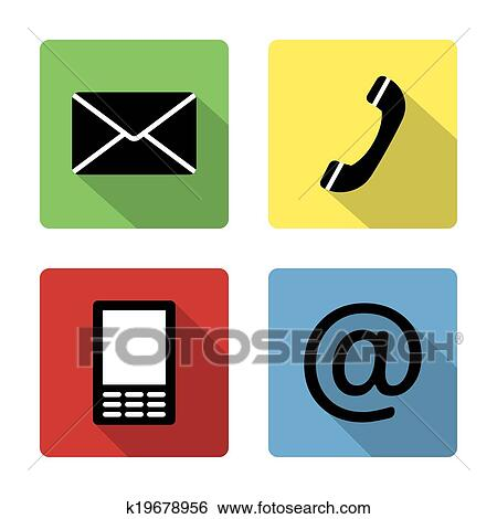 Contact icons buttonsset - envelope, mobile, phone, mail Clip Art