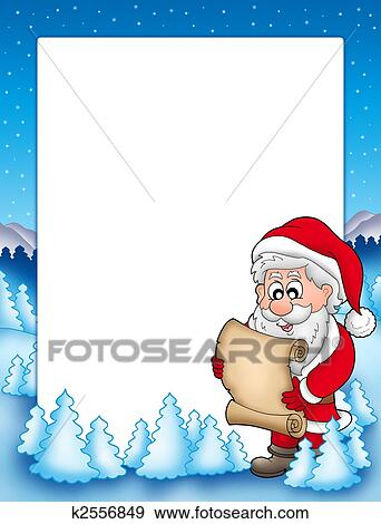 Stock Illustration of Frame with Santa and parchment k2556849 ...