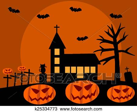 clipart halloween with church and pumpkin fotosearch search clip art illustration murals