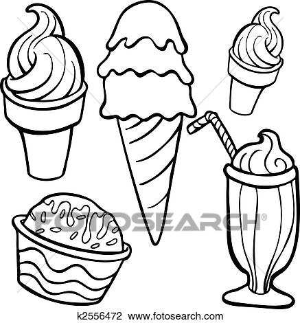 clipart of ice cream food items line art k2556472 search clip art rh fotosearch com ice cream scoop clipart black and white ice cream cone clipart black and white