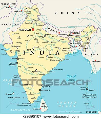 Clip Art of India Political Map k29395107 - Search Clipart ...