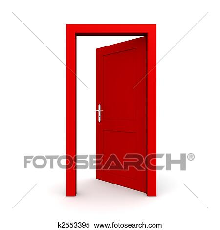 stock illustration of open single red door k2553395