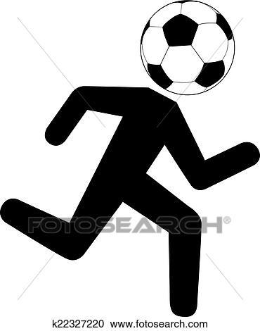 Laufende Fussballspieler Mit Fussball Ball Clipart
