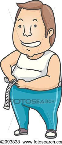 clip art of man weight loss measure waist k42093838 search clipart