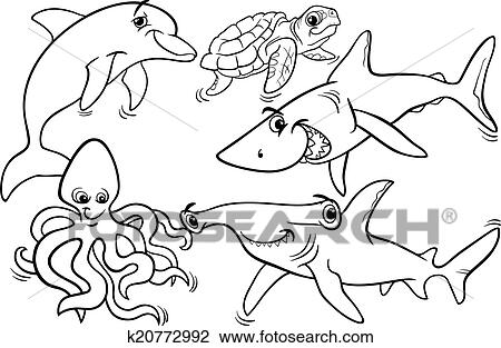 Black And White Cartoon Illustrations Of Funny Sea Life Animals Fish Mascot Characters Group For Coloring Book
