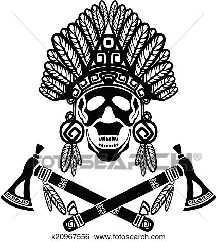 bab2a0f6532 Clip Art of Skull in Indian headdress k20967556 - Search Clipart ...