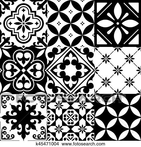 Drawing Spanish Tiles Moroccan Design Seamless Black Pattern Fotosearch Search