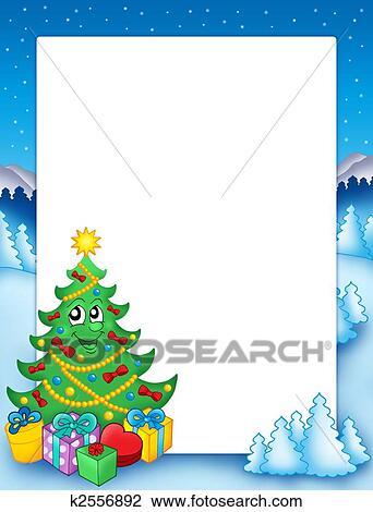 Clip Art Weihnachten Rahmen Mit Baum 1 K2556892 Suche Clipart