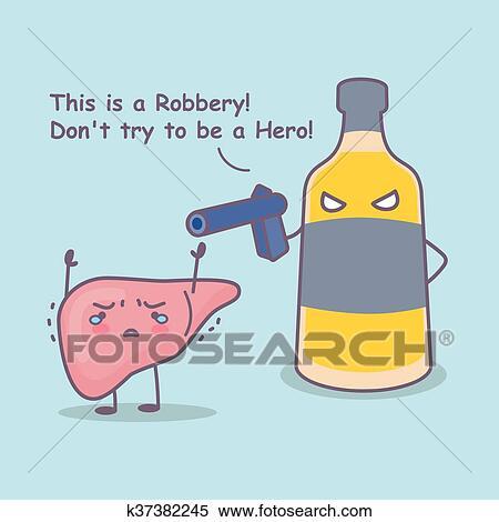 clipart - caricatura, hígado, robo, por, licor k37382245 - buscar