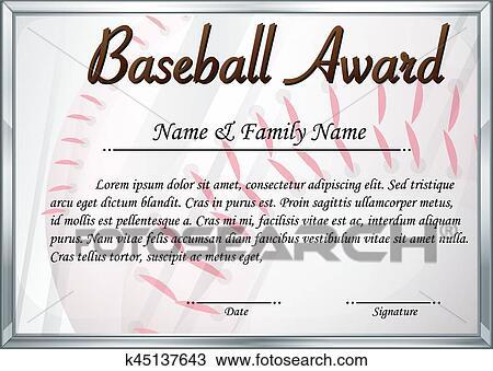 Clipart Of Certificate Template For Baseball Award K45137643