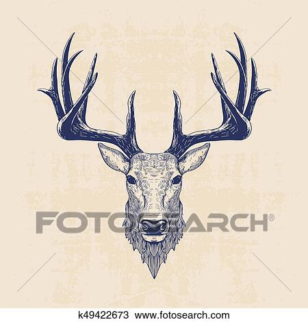 Deer Head Drawing K49422673 Fotosearch