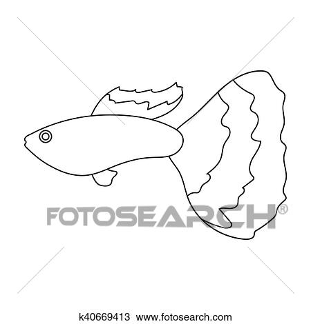 Drawing Of Guppy Fish Icon Line Singe Aquarium Fish Icon From The