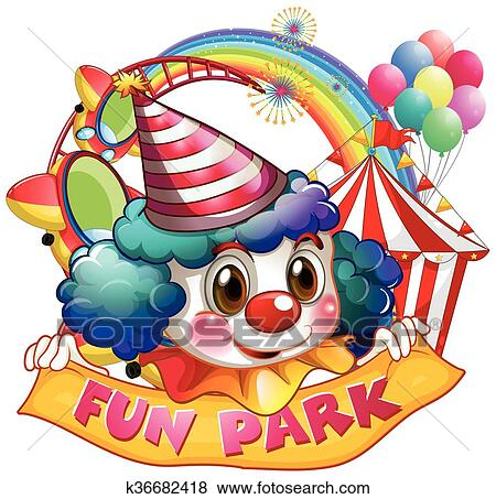 clip art of jester and fun park sign k36682418 search clipart rh fotosearch com park clip art with dogs park clipart png