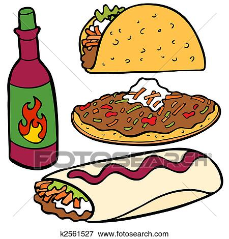 clip art of mexican food items k2561527 search clipart rh fotosearch com mexican food clipart black and white Traditional Mexican Food